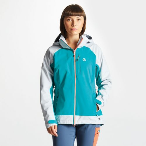 Women's Veritas Lightweight Waterproof Jacket With Detachable Hood - Caribbean Green Argent Grey